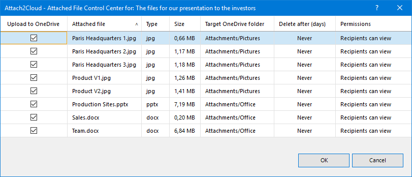 The Attach2Cloud Attached File Control Center gives you the full control on the upload of your MS Outlook attached files to OneDrive