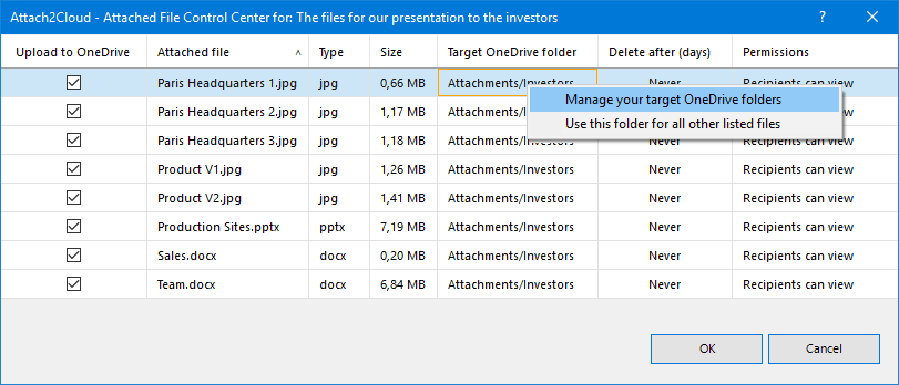 Right-click / Manage target folders on a Target OneDrive folder column cell to manage your target OneDrive folders
