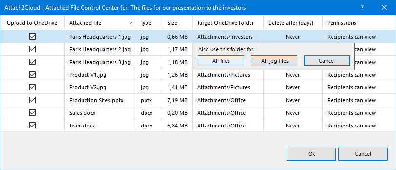 Apply your target OneDrive folder selection to all of the attached files of the same type in one click