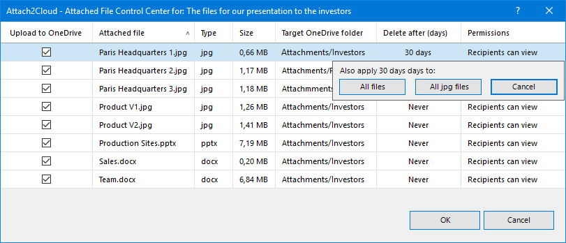 Attach2Cloud can delete the MS Outlook attached files you upload to OneDrive after a given number of days