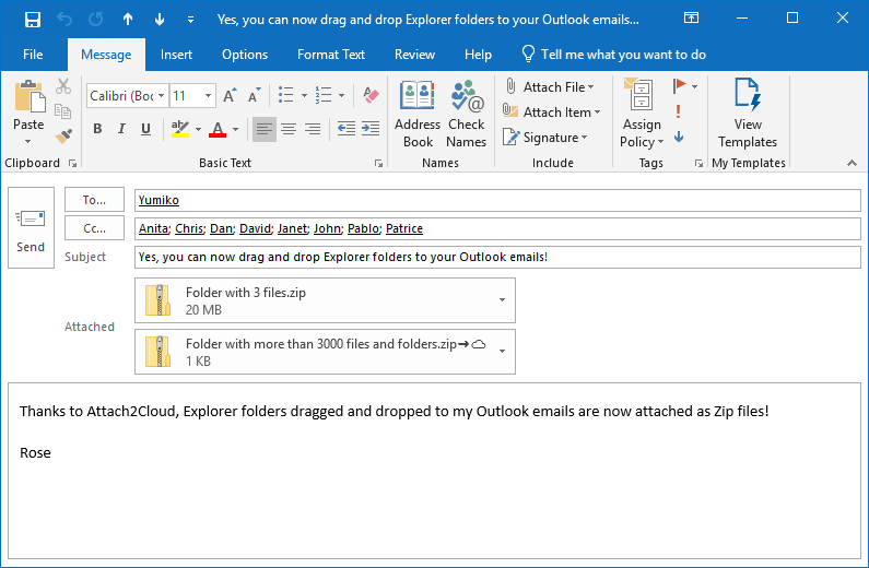 The compressed Zip folder is then attached to our Outlook email.