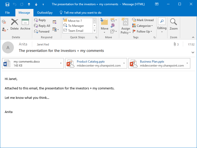The received MS Outlook email with attached OneDrive shortcuts created by Attach2Cloud in place of the large files attached by Anita