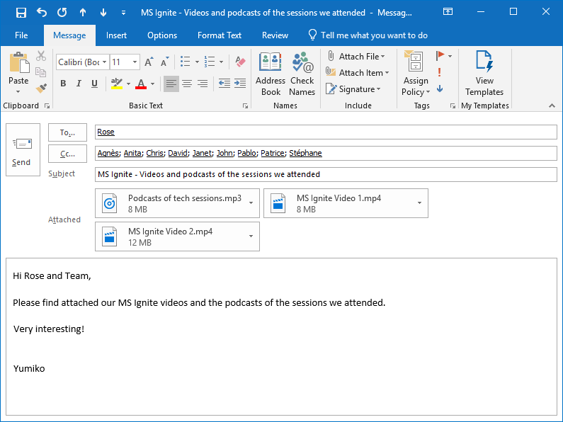 The MS Outlook email with the attached video and audio files is ready to be sent