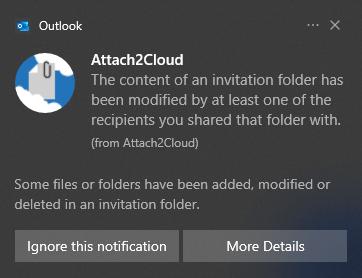 Attach2Cloud affiche cette notification Windows 10 m'informant d'une mise à jour du contenu d'un de mes dossiers d'invitation