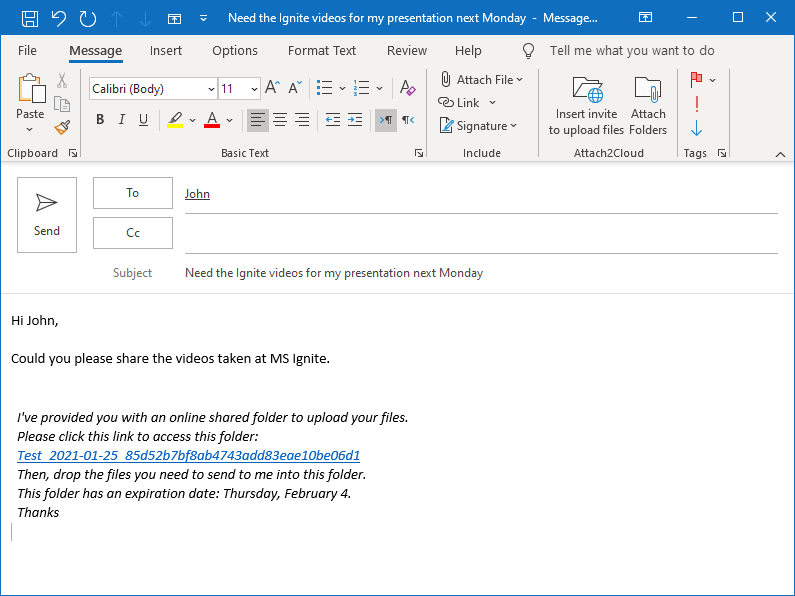 Attach2Cloud has inserted the invitation to upload files to OneDrive in the Janet's email